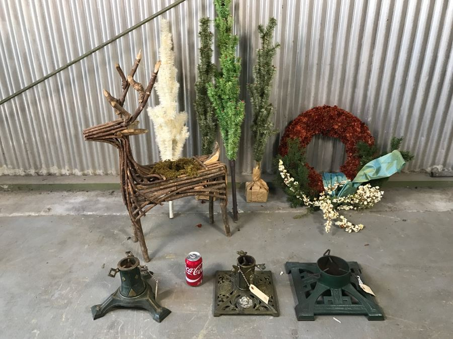 christmas decoration lot with 3 vintage metal christmas tree stands photo 2 - Metal Christmas Decoration Stand