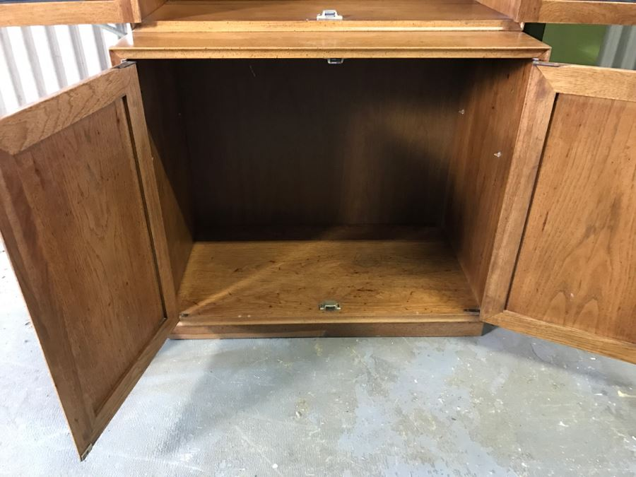 2 Piece Mid Century Wooden Cabinet With Beveled Glass And Cane Front