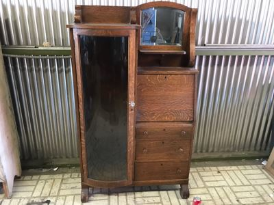 Antique Tiger Oak Secretary Cabinet With Beveled Glass Mirror