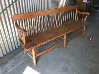 Long Primitive Wooden Bench