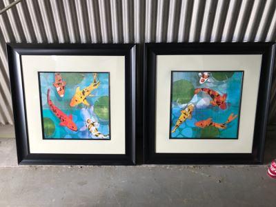 Pair Of Framed Koi Fish Prints