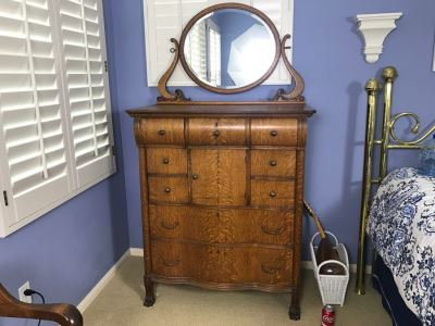 Antique Tiger Oak Highboy Dresser Chest Of Drawers With Serpentine Front And Claw Feet With Swivel Mirror