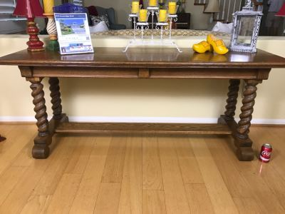 Vintage Tiger Oak Barley Twist Console Sofa Table