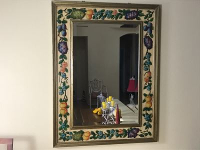 Fabulous Hand Painted And Relief Carved Beveled Glass Wall Mirror With Fruit Motif