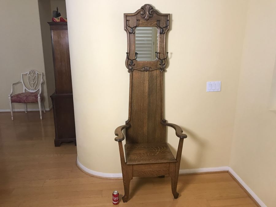 Vintage Tiger Oak Hall Tree With Chair Mirror And Coat