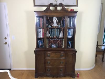 Vintage Glass Front Wooden Bookcase With 3-Drawers And 2 Cabinets
