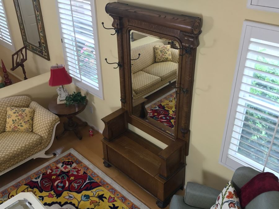 Antique Tiger Oak Hall Tree With Storage Bench Beveled