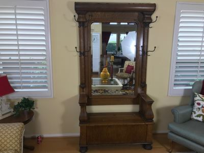 Antique Tiger Oak Hall Tree With Storage Bench, Beveled Glass Mirror And Coat Rack Hooks - Mirror Mounts To Wall