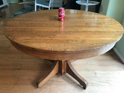 Antique Oak Plank Butcher Block Round Pedestal Dining Table With 2 Custom Leaves