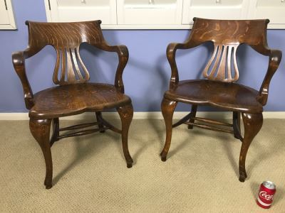 Fabulous Pair Of Vintage Tiger Oak Designer Armchairs