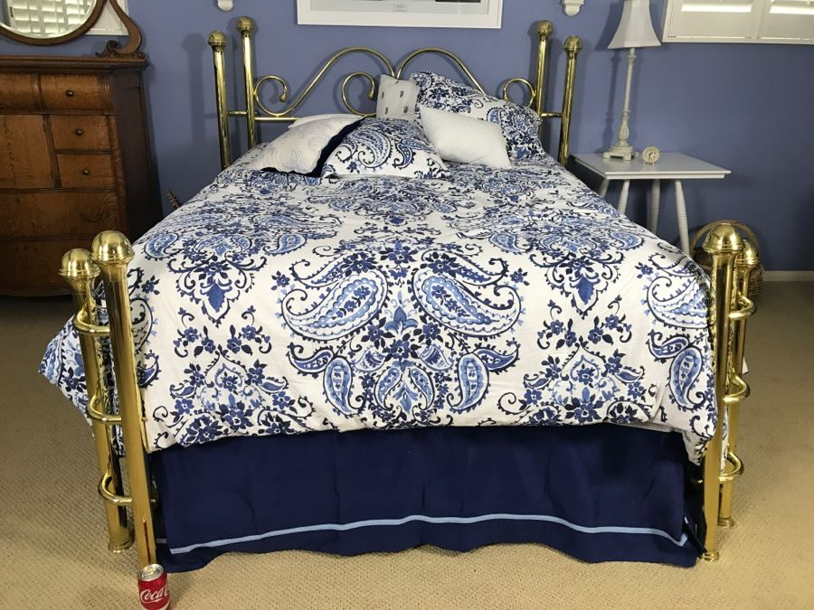 Queen Size Brass Bed And Frame - Does Not Include Mattress, Box ...