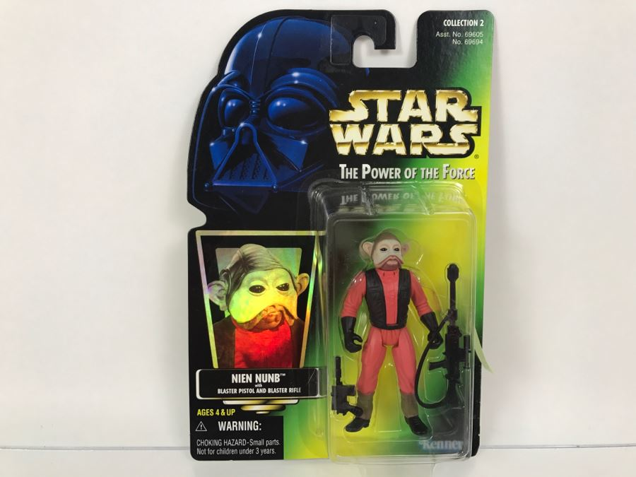 star wars the power of the force nien nunb with blaster pistol and blaster rifle collection
