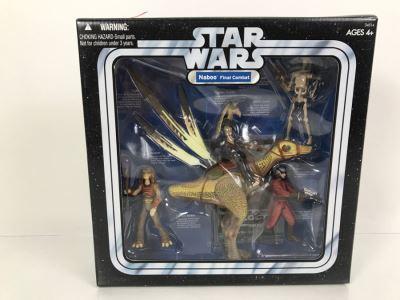 STAR WARS Naboo Final Combat With Battle Droid, Captian Tarpals, Naboo Palace Guard, Gungan Soldier, And Kaadu Hasbro 2004 34514 New In Box