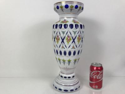 LARGE Vintage Bohemian Vase Art Glass White Cased Cut to Blue 16'H x 7'W