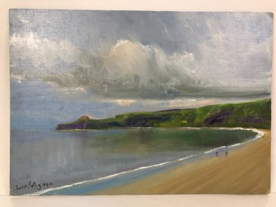 Original Plein Air Oil Painting By Malcolm Ludvigsen (British Mathematician And Plein Air Painter) UK Artist Runswick Bay 20'W x 14'H