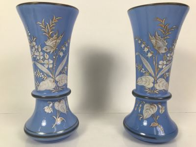 Pair Of Victorian Light Blue Glass Vases 9.5'H