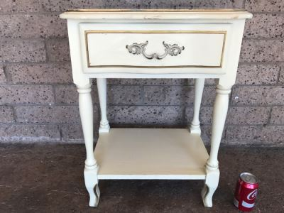 French Provincial Cream With Gold Accents Nightstand Table 19'W x 14'D x 25'H
