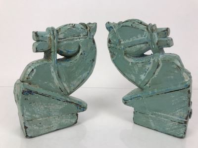Pair Of Painted Carved Wood Horse Heads For Mounting On Wall