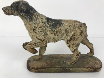 Vintage Cast Iron Doorstop Hunting Setter Pointer Dog - Missing Tail 7'L