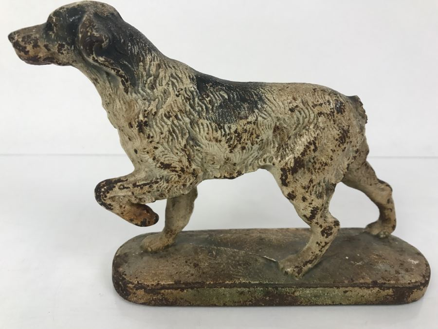 Vintage Cast Iron Doorstop Hunting Setter Pointer Dog Missing Tail 7l