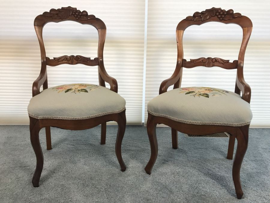 Pair Of Antique Carved Wooden Needlepoint Chairs With Fruit Motif [Photo 1] - Pair Of Antique Carved Wooden Needlepoint Chairs With Fruit Motif