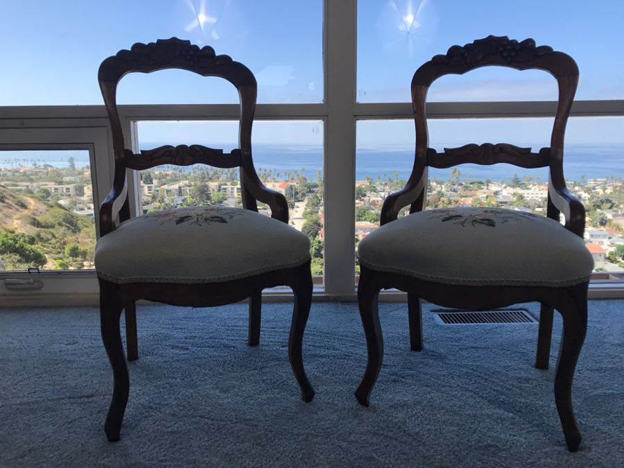 Pair Of Antique Carved Wooden Needlepoint Chairs With Fruit Motif [Photo 21]