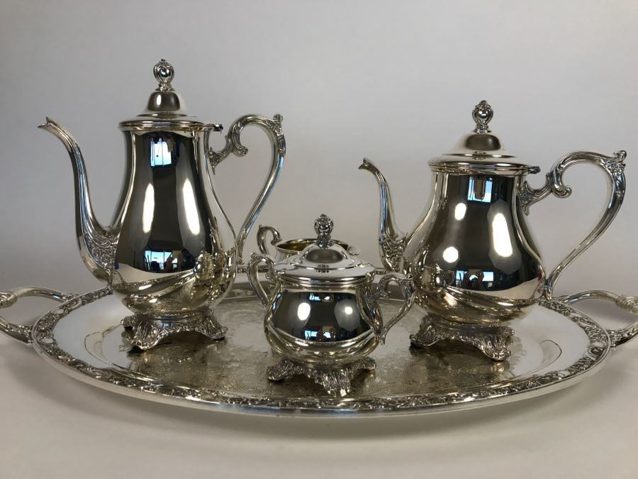 Silverplate Victorian Rose WM Rogers & Son Coffee Pot, Teapot ...