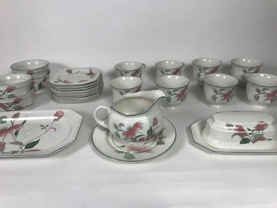 Mikasa continental silk flowers china set cups saucers platter mikasa continental silk flowers china set cups saucers platter bowls covered butter mightylinksfo
