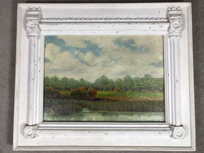 Original Plein Air Oil Painting By E. A. Nyman? 1928 In Stunning Custom Architectural Wooden Shabby Chic Frame 34' x 24'