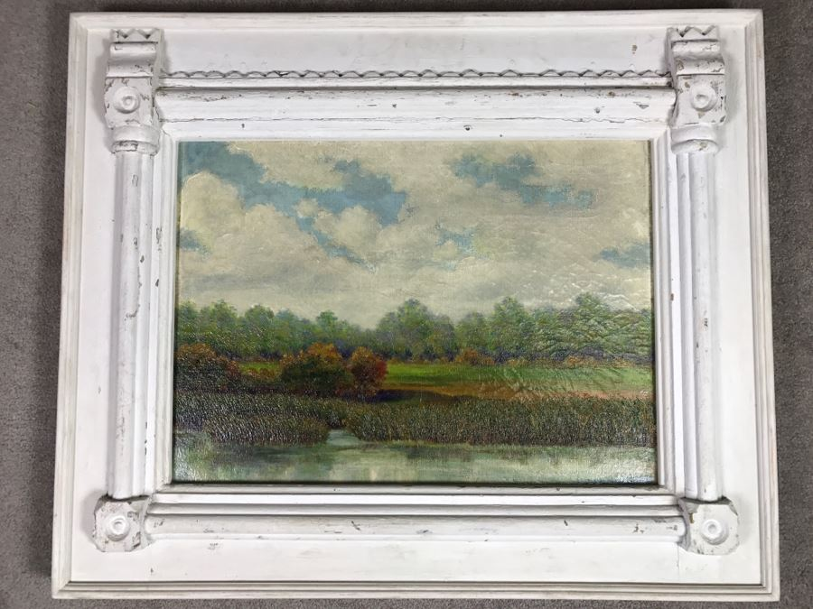 Original Plein Air Oil Painting By E. A. Nyman? 1928 In Stunning Custom Architectural Wooden Shabby Chic Frame 34' x 24' [Photo 1]