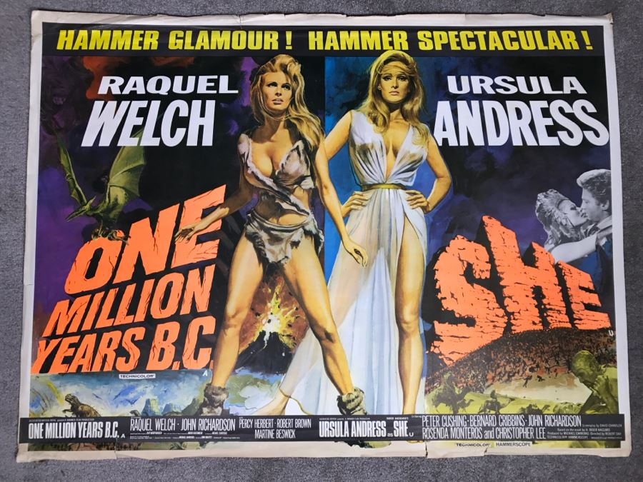 Vintage Litho Movie Poster Raquel Welch 'One Million Years B.C.' And Ursula Andress 'She' - Some Edge Tears [Photo 1]