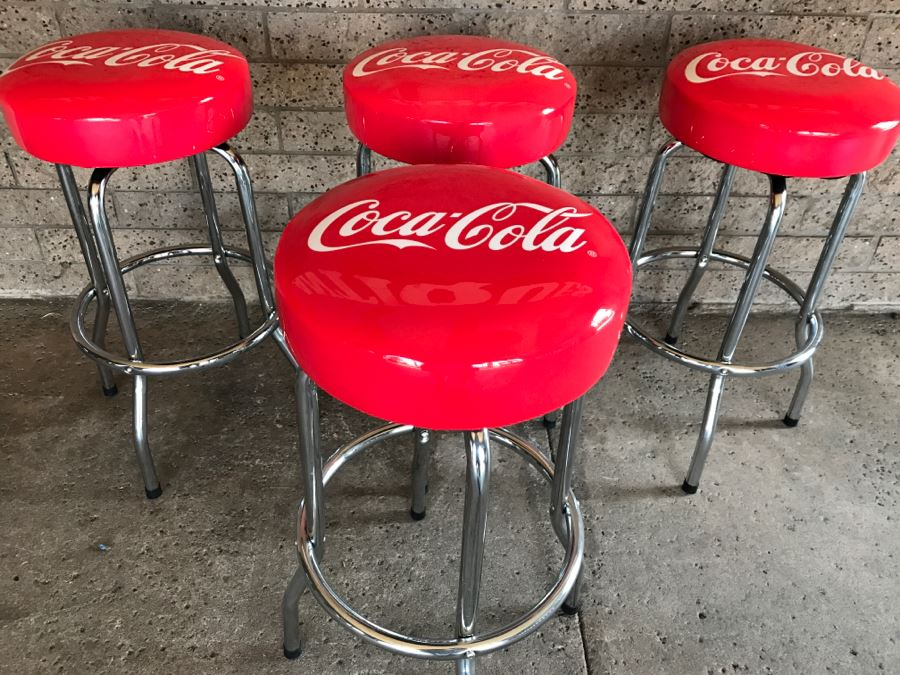 Set Of 4 Official Coca-Cola Red Chrome Bar Stools 15'W x 29.5'H [Photo 1]