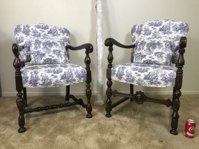 Vintage His And Her Newly Upholstered Chairs With Extra Bolt Of Fabric 24'W X 27'D X 34'H