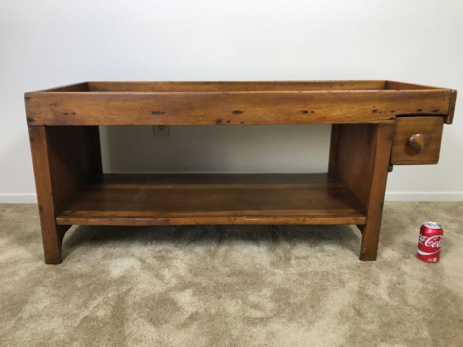 Antique Long Bench Coffee Table With Lower Shelf And Long Drawer 49'W X 19'D X 22'H [Photo 1]