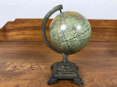 Vintage Rand Mcnally & Co Miniature New 3 Inch Terrestrial Globe With Metal Stand