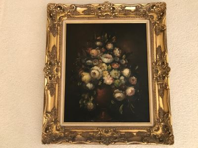 JUST ADDED - Original Still Life Of Flowers Oil Painting In STUNNING Ornate Gilt Wood Frame Signature Is Illegible Black On Black J. Lomb?? 20 X 24 LONDON Written On Back Of Canvas