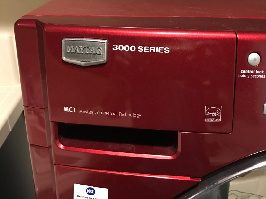Maytag 3000 Series Red Front Loading Washing Machine And Dryer Maytag Commerical