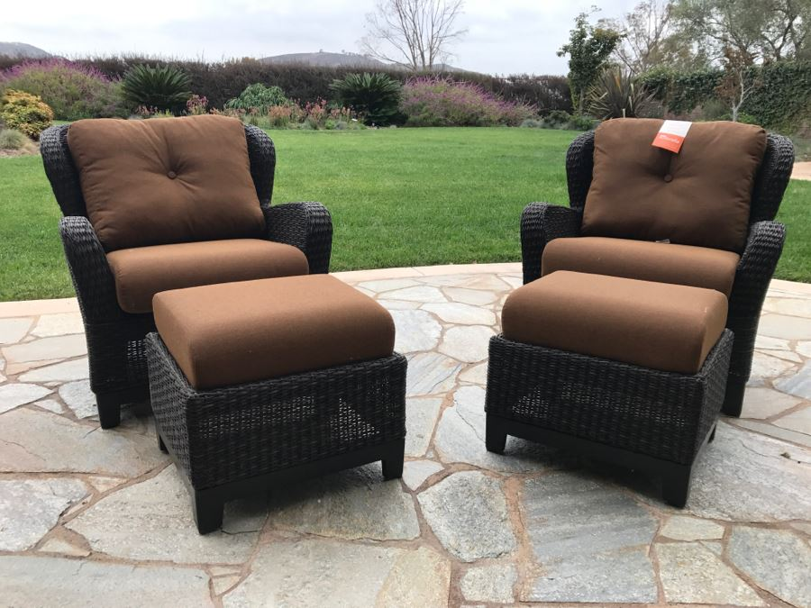 Pair Of Outdoor Faux Wicker Armchairs With Ottomans Sunbrella Cushions  Stored Inside Like New [Photo
