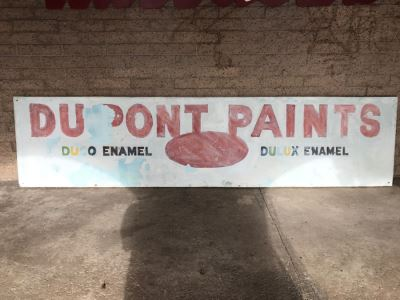 JUST ADDED - Large 15'L x 36'H Embossed Metal DUPONT PAINTS Painted Sign DUCO ENAMEL DULUX ENAMEL