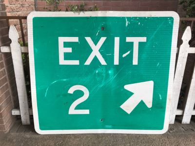 JUST ADDED - Exit 2 Green And White 4' x 4' Road Sign - Picker Find At Scrap Yard - Great For Bathroom Sign :)