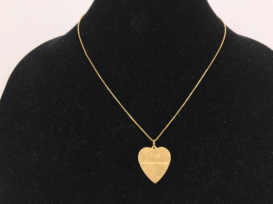 JUST ADDED - 14k Gold Heart-Shaped 50th Anniversary Pendant And 18k Box Chain 5.9g TW [Photo 1]