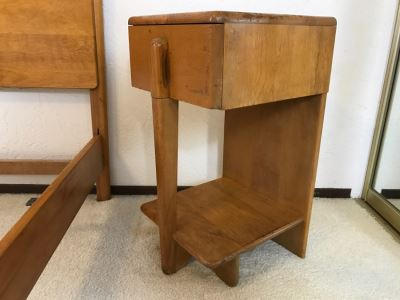 Heywood Wakefield 'Skyliner' 1939 Mid-Century Modern With Art Deco Styling Nightstand End Table - Has Some Finish Issues