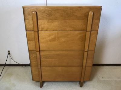 Heywood Wakefield 'Skyliner' 1939 Mid-Century Modern With Art Deco Styling 4-Drawer Highboy Chest Of Drawers Dresser