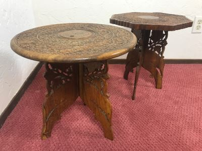 Pair Of Hand Carved Sheshum Wood Inlay Tables From India