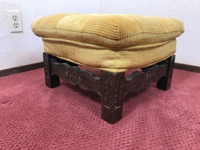 Vintage Square Carved Wood Stool Chair Bench
