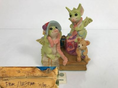 Hand Signed By Real Musgrave Pocket Dragon Figurine 10/92 - Whimsical World Of Pocket Dragons - Dragons In The Attic - 1991 LOL [MV $140-$160 Unsigned]