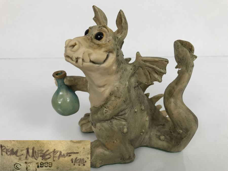 Hand Signed By Real Musgrave Pocket Dragon Figurine 1/94 - Whimsical World Of Pocket Dragons - Toady Goldtrayler - 1989 - Lilliput Lane Land Of Legend Limited - Hand Made in UK [MV $170-$225 Unsigned] [Photo 1]