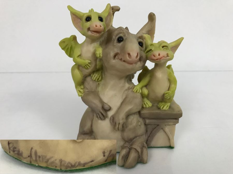 Hand Signed By Real Musgrave Pocket Dragon Figurine 1/94 - Whimsical World Of Pocket Dragons - Friends - 1990 LOL - Hand Made in UK [MV $80-$100] [Photo 1]