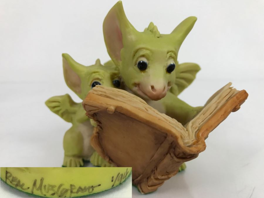 Hand Signed By Real Musgrave Pocket Dragon Figurine 1/94 - Whimsical World Of Pocket Dragons - Reading The Good Parts - 1992 Real Musgrave, CWS, LOL Limited - Hand Made in UK [MV $70-$90 Unsigned] [Photo 1]