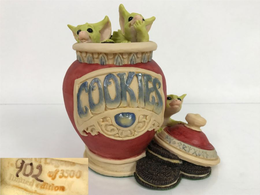 Whimsical World Of Pocket Dragons - Raiding The Cookie Jar - Worldwide Limited Edition 902 of 3500 - 1994 Real Musgrave, CWs Ltd/CWA Ltd - Hand Made in UK [MV $350-$425] [Photo 1]